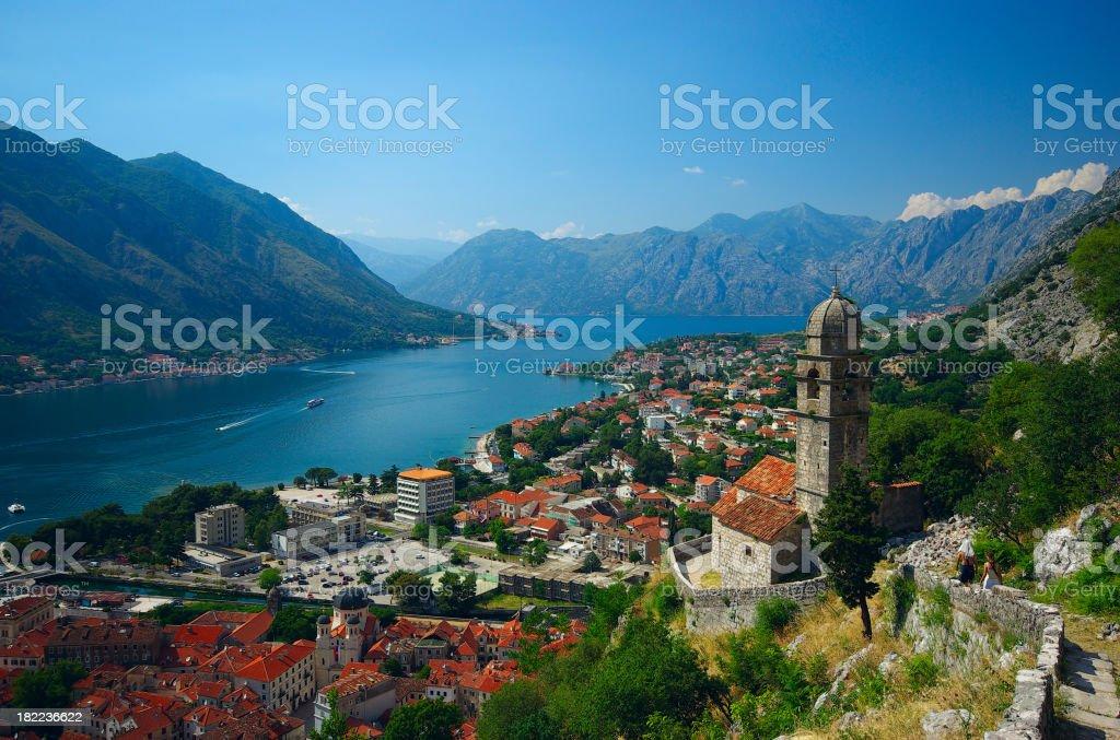 Kotor bay of Montenegro stock photo