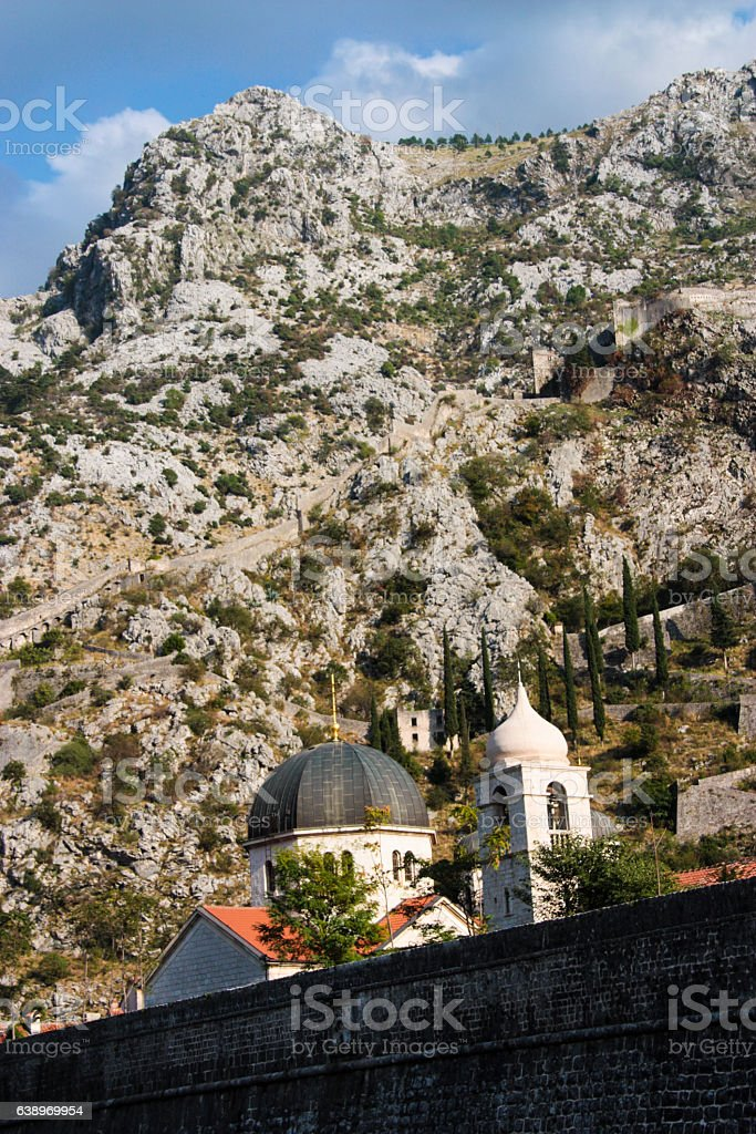 Kotor City Walls And Church stock photo