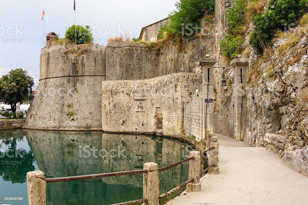 Kotor Gurdic gate and moat stock photo