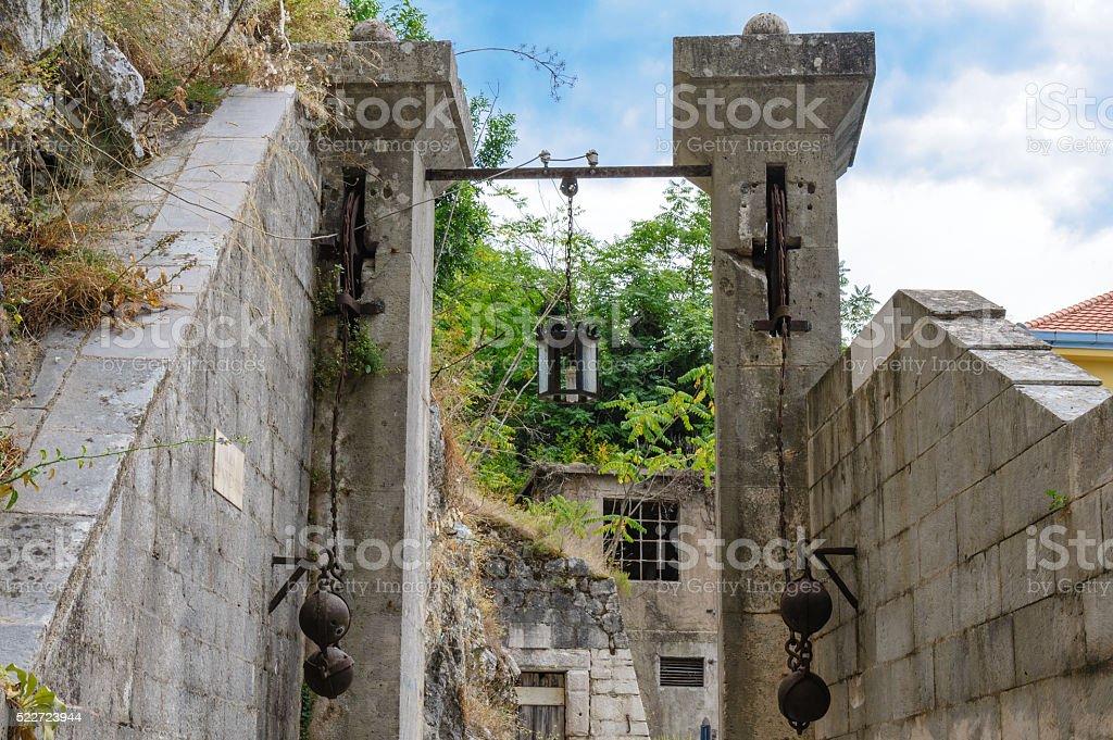 Kotor Gurdic gate stock photo