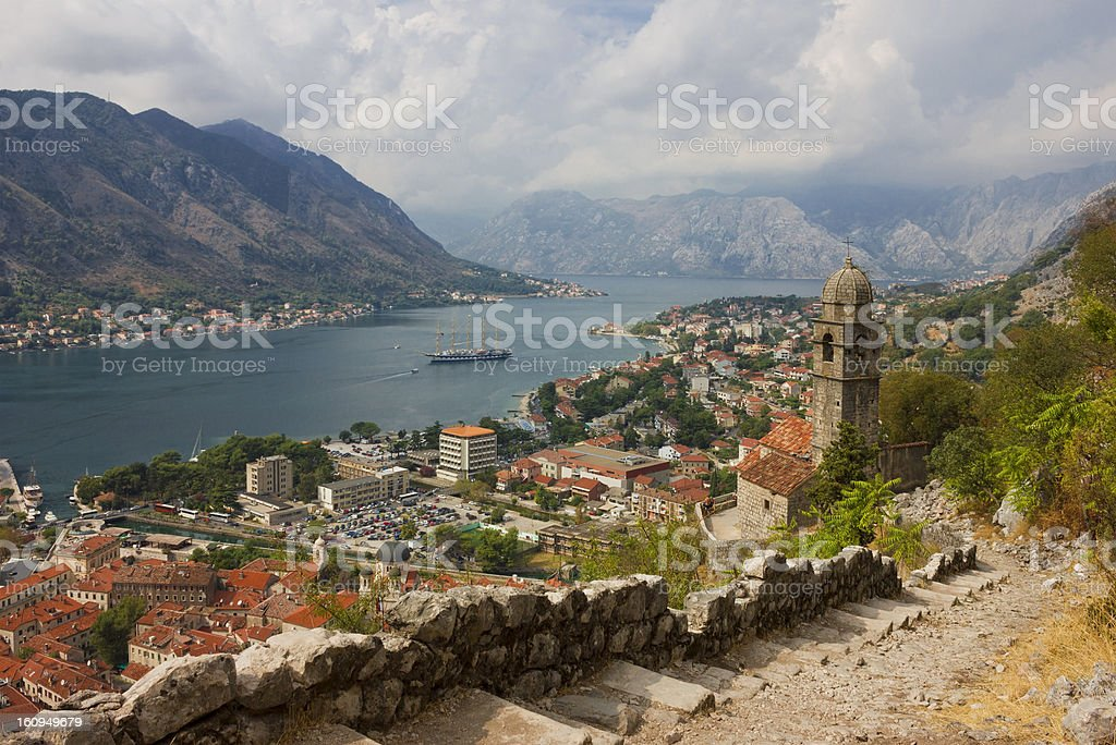 Kotor Panoramic View From the Fortress royalty-free stock photo