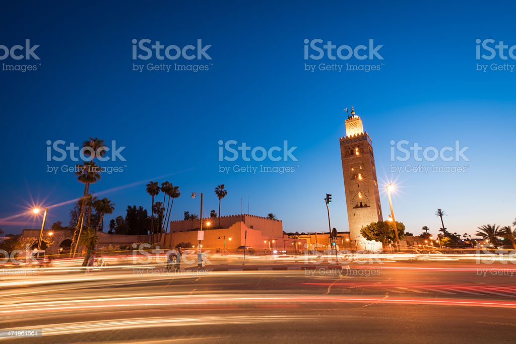 Koutoubia Mosque tower in Marrakech, Morocco at dusk stock photo