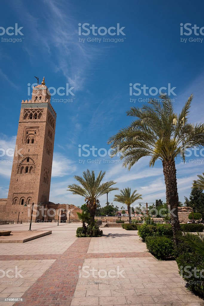 Koutoubia Mosque tower in Marrakech, Morocco stock photo