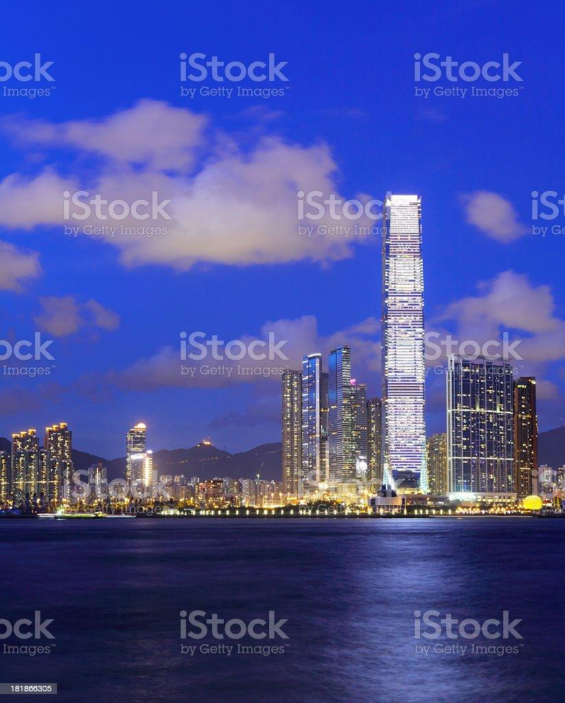 Kowloon Peninsula at dusk royalty-free stock photo
