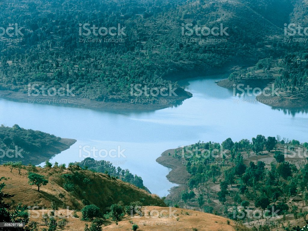 Koyna dam backwaters from western ghat stock photo