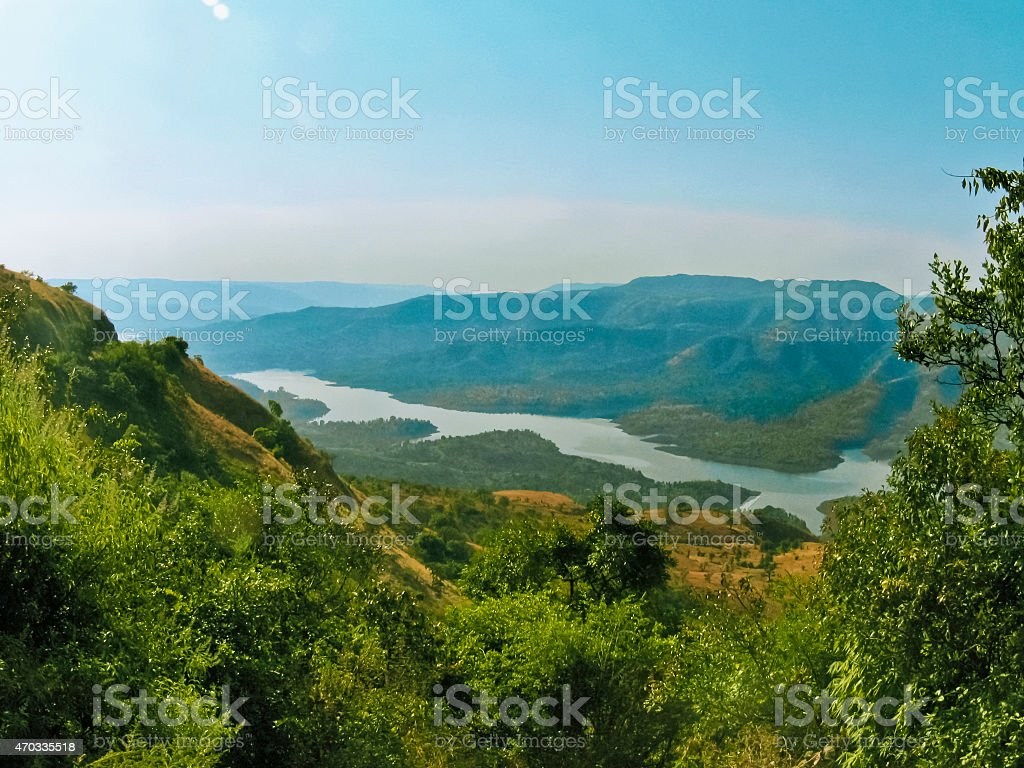 Koyna dam backwaters stock photo