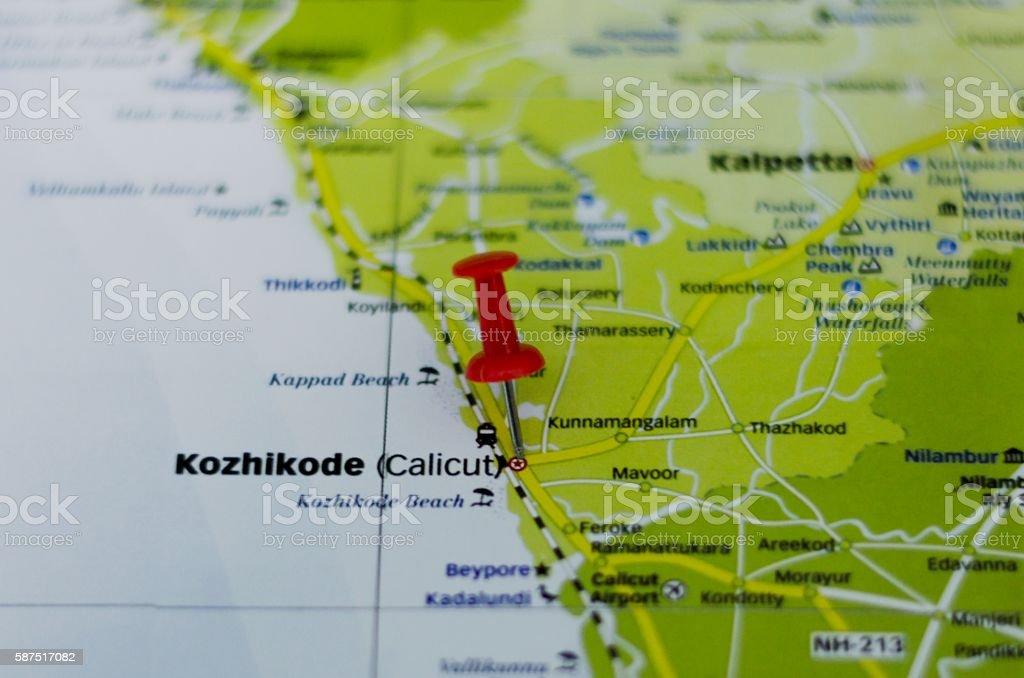 Kozhikode map stock photo