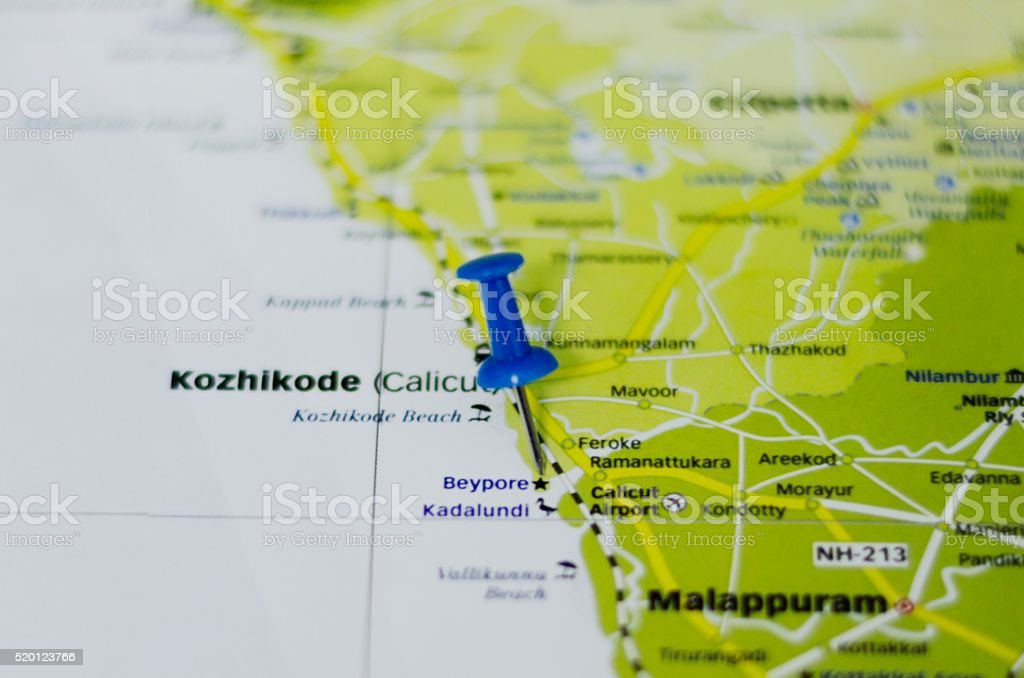 Kozhikode or Calicut Marked on Map with Red Pushpin stock photo