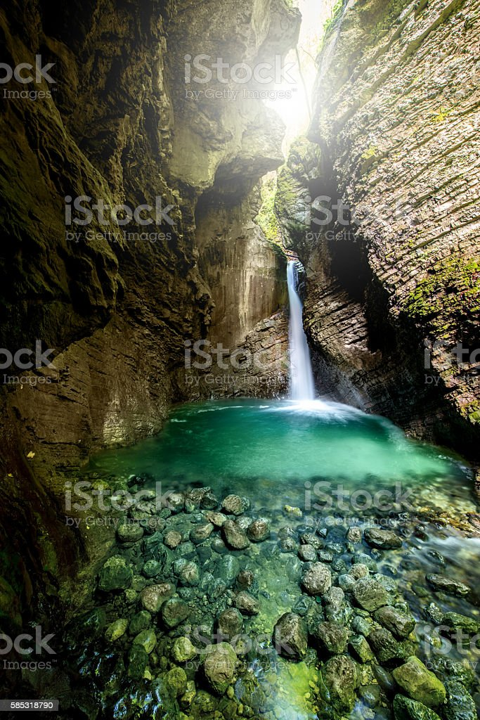 Kozjak waterfall in Slovenia stock photo