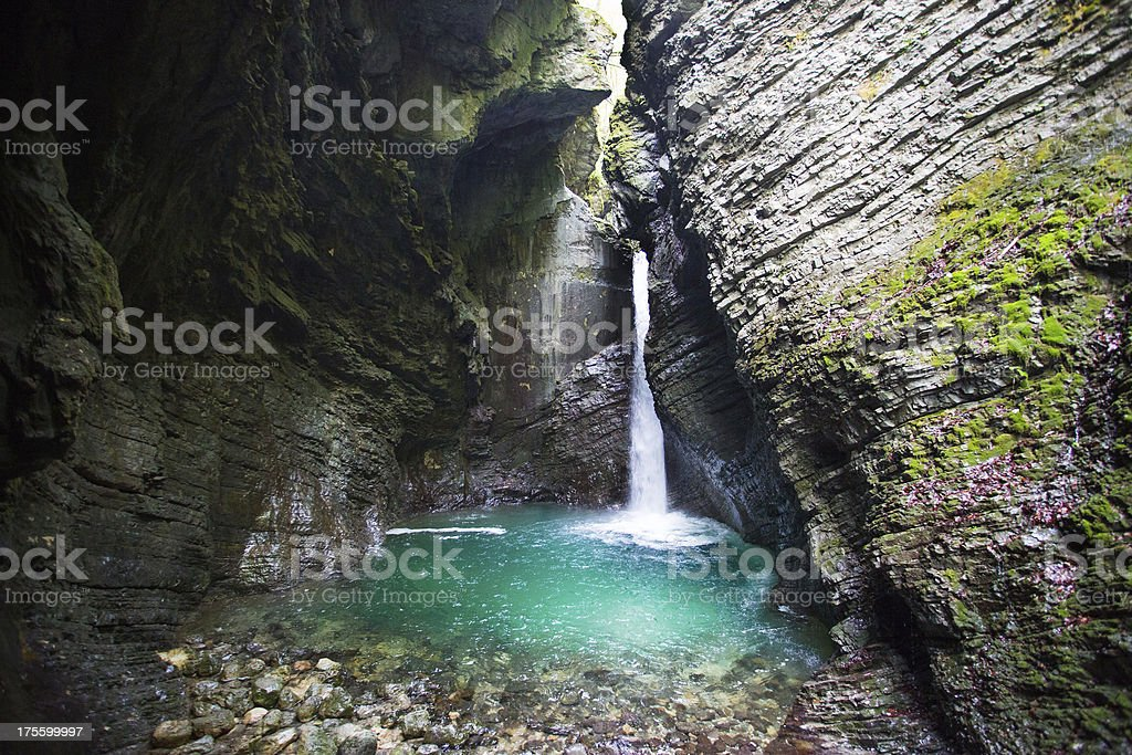 Kozjak waterfall (Slap Kozjak) near Kobarid, Julian Alps, Slovenia. stock photo