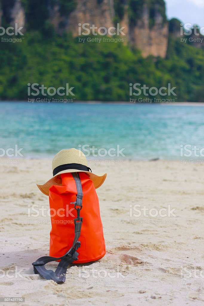 krabi beach Hat and bag at Thailand stock photo