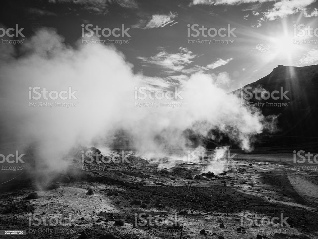 Krafla geothermal area of Hverir - black and white stock photo