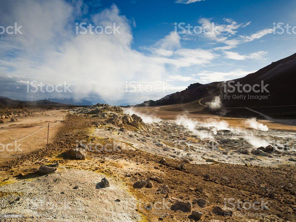 Krafla geothermal area of Hverir stock photo
