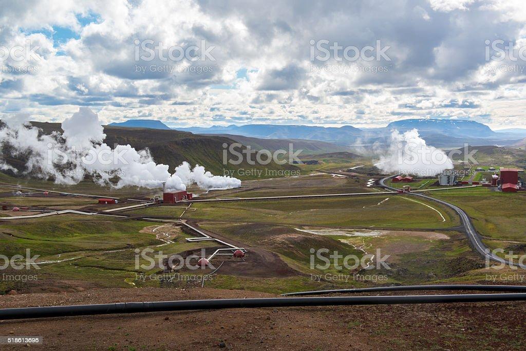 Krafla geothermal power station, rainy day, Northern Iceland stock photo