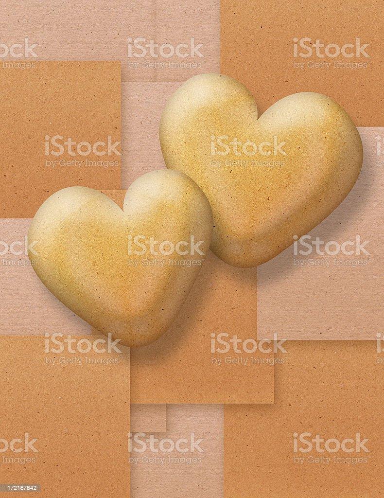 Kraft Hearts royalty-free stock photo