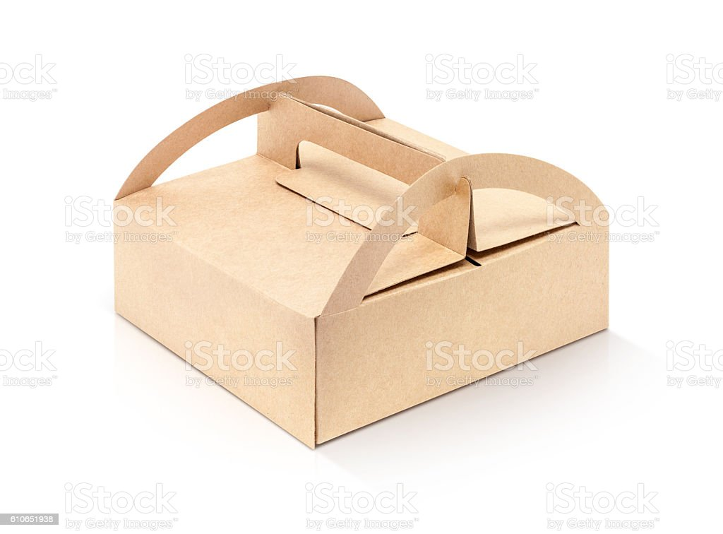 kraft packaging paper box isolated on white background stock photo