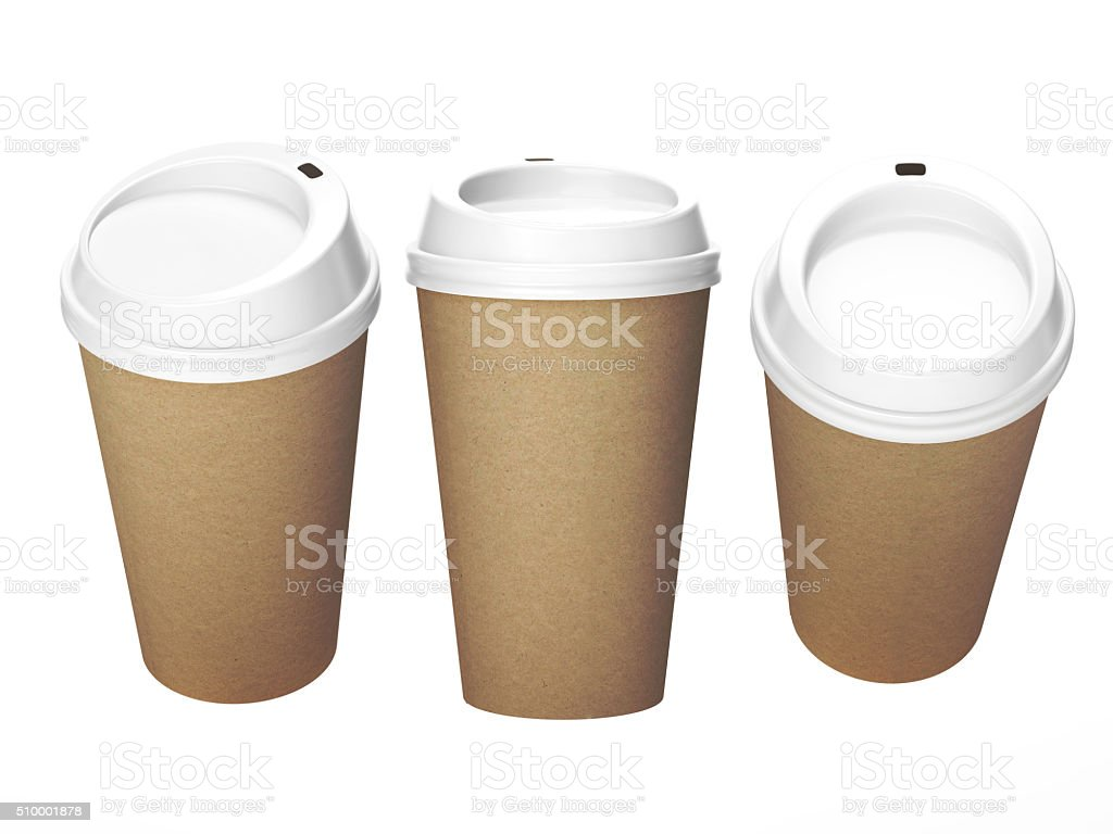 Kraft paper coffee cup with white cap, clipping path included stock photo