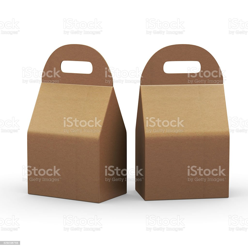 Kraft paper flat bottom  box with handle, clipping path included vector art illustration