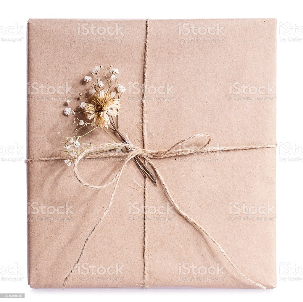 kraft paper gift box stock photo