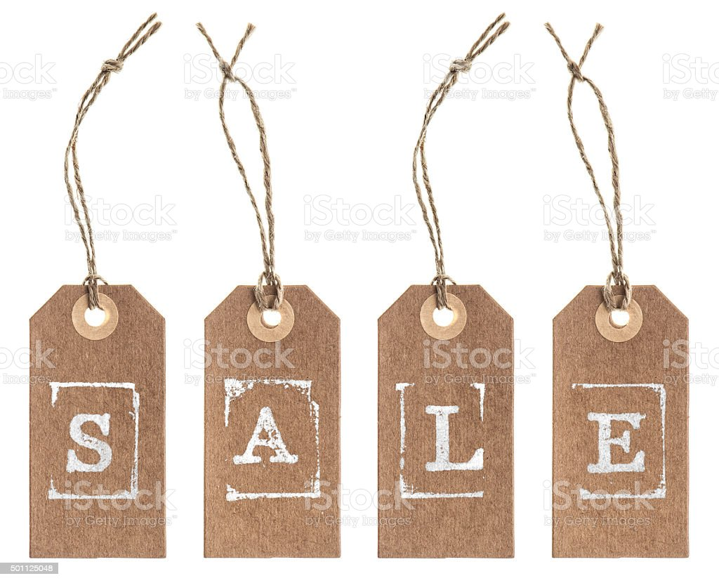 Kraft paper tag with string. SALE concept stock photo