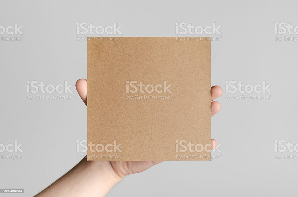 Kraft Square Flyer / Invitation Mock-Up stock photo