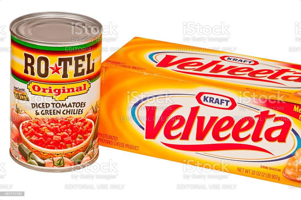 Kraft Velveeta Cheese and Rotel Chili Peppers stock photo