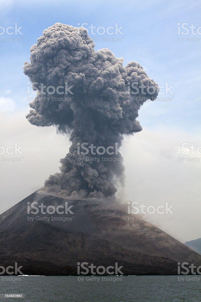 Krakatau erupts plume of smoke stock photo