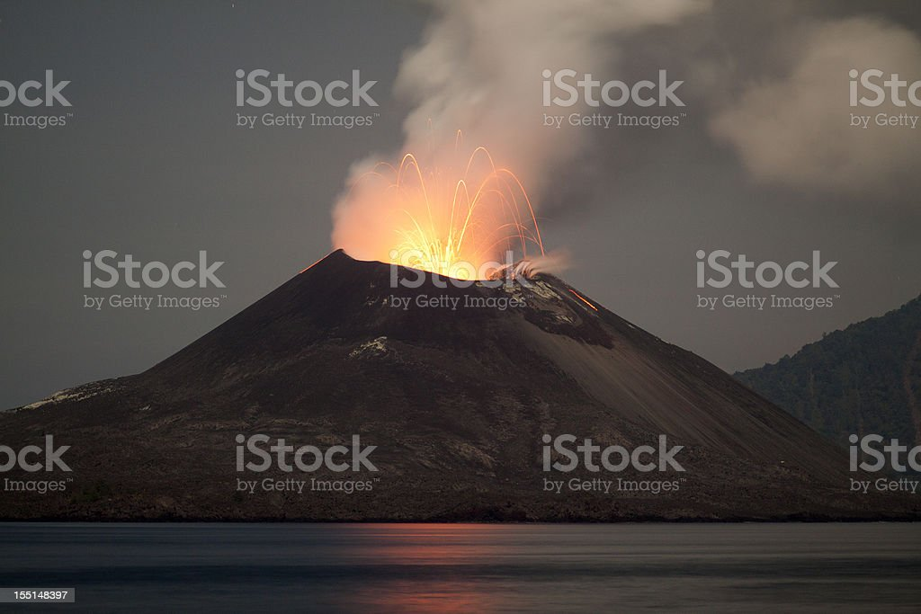 Krakatau Volcano erupting at night - November 2011 stock photo
