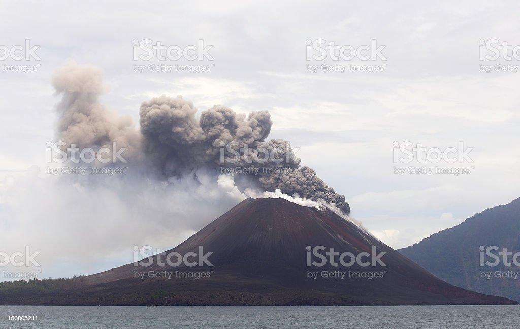 Krakatau Volcano erupting stock photo