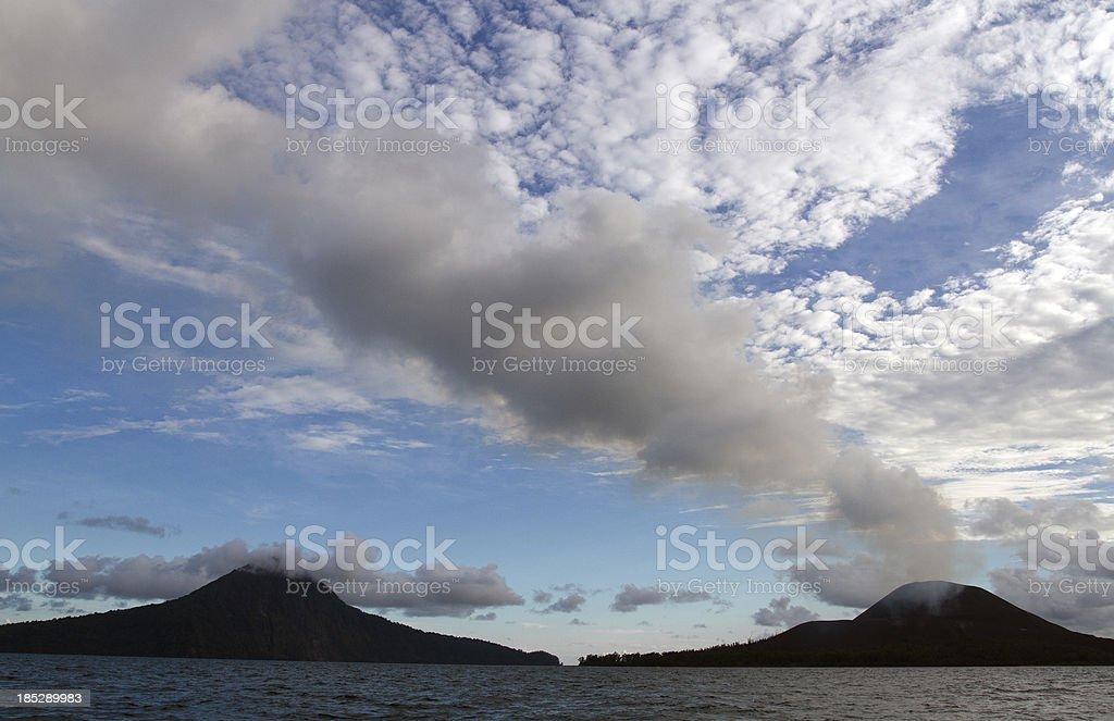 Krakatau volcano siluette stock photo
