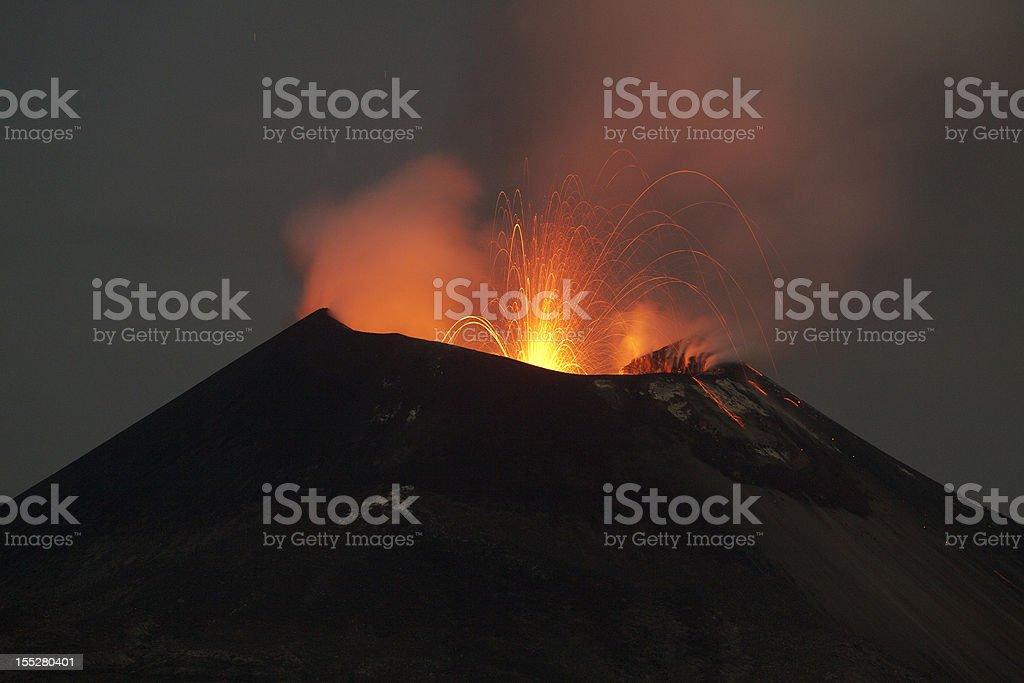Krakatoa volcano eruption, November 2011 stock photo