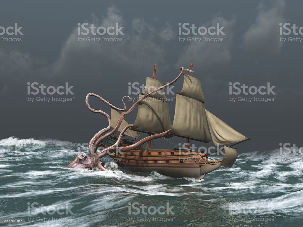 Kraken attacking an ancient ship stock photo