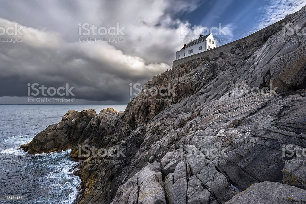Krakenes lighthouse at daybreak, Norway. stock photo