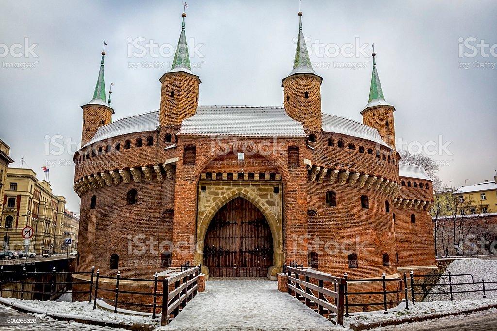 Krakow barbican in winter stock photo