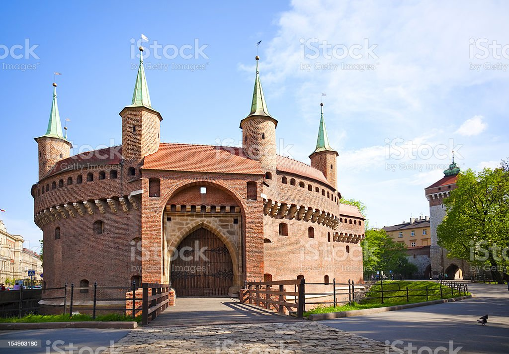 Krakow barbican stock photo
