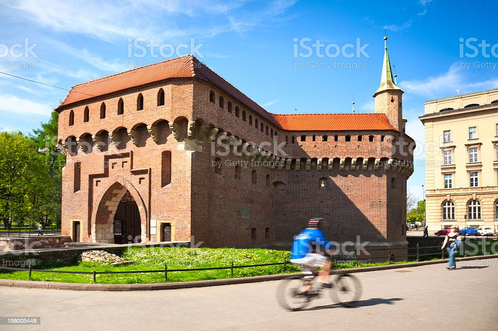Krakow barbican stock photo