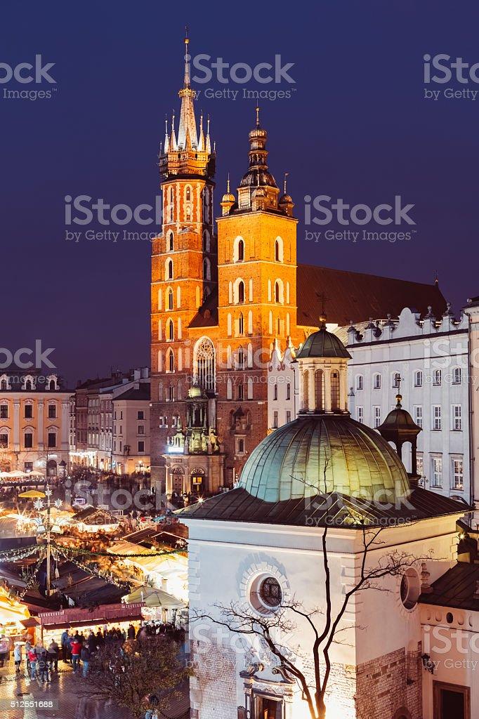 Krakow by night stock photo