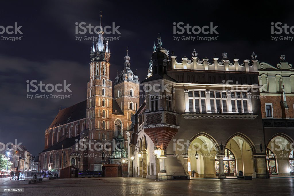 Krakow city center with the most famous buildings, Poland stock photo