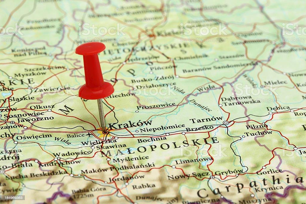 Krakow, Cracow Map - Europe Poland royalty-free stock photo