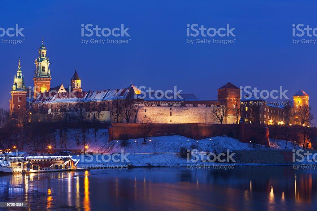Krakow in winter night stock photo
