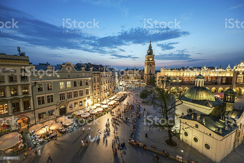 Krakow Market Square, Poland stock photo