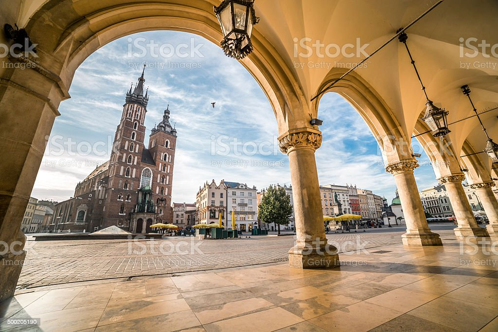 Krakow Market Square taken from Cloth Hall, Poland stock photo