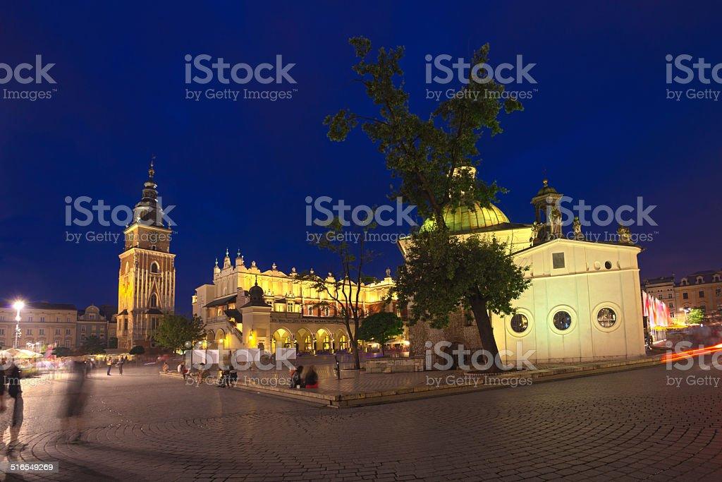 Krakow old town main market square stock photo