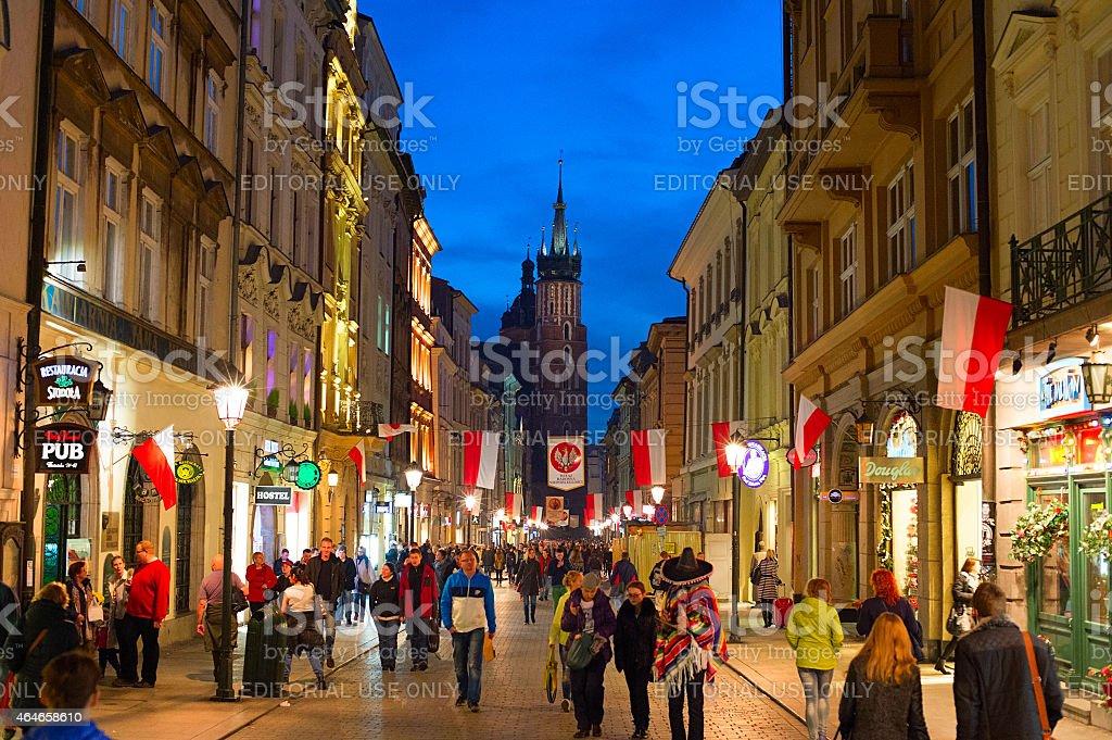 Krakow Old Town street stock photo