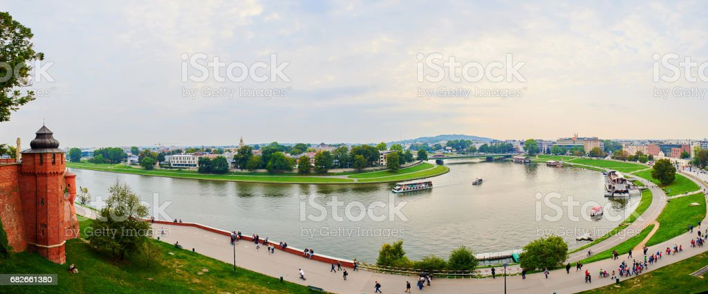 Krakow panorama, Poland, cityscape with historic royal Wawel Castle stock photo