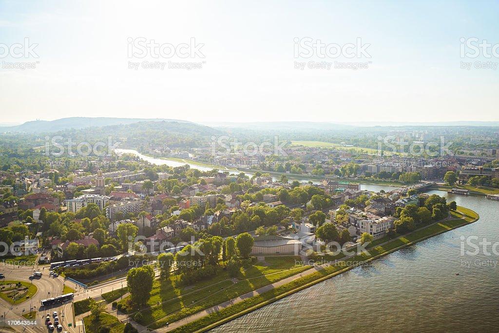 Krakow panorama with Vistula stock photo