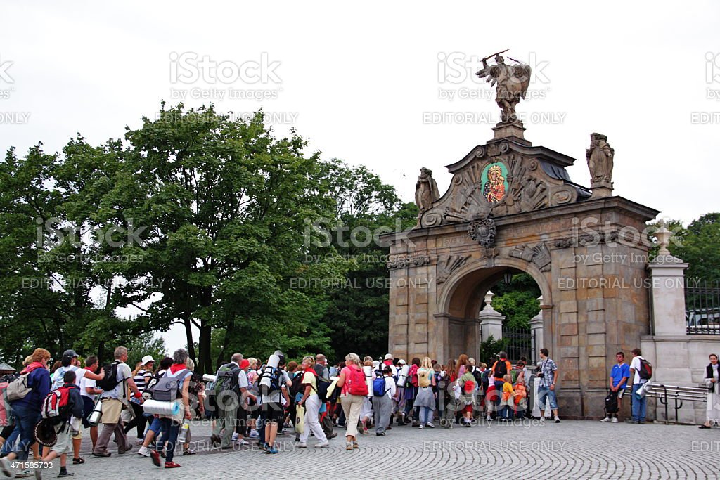 krakow pilgrimage to jasna gora sanctuary stock photo