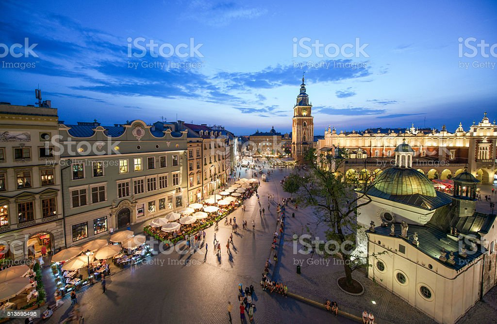 Krakow, Poland at night stock photo