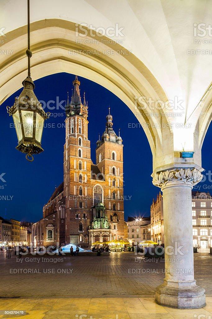 Krakow, Poland - Cloth-Hall and St. Mary CHurch stock photo