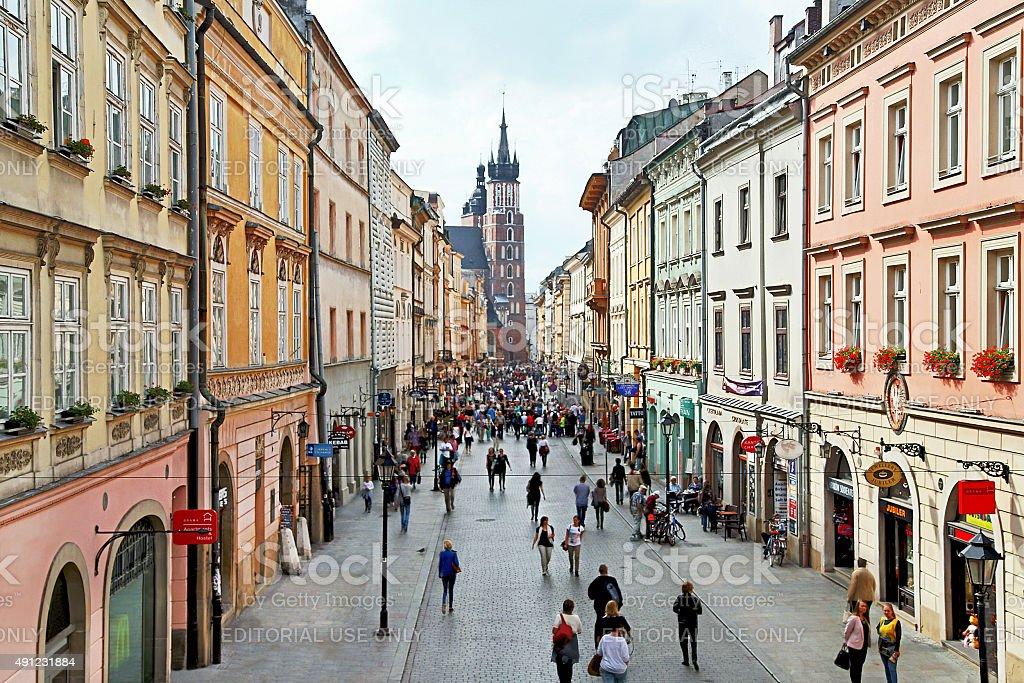 Krakow, Poland – September 12, 2015: View of Florian's street. stock photo